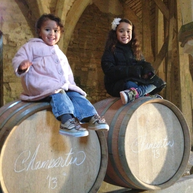 Siena Jesline and Isabella Ilan with 2 barrels of Chambertin 2013 at the Abbaye de la Bussiere